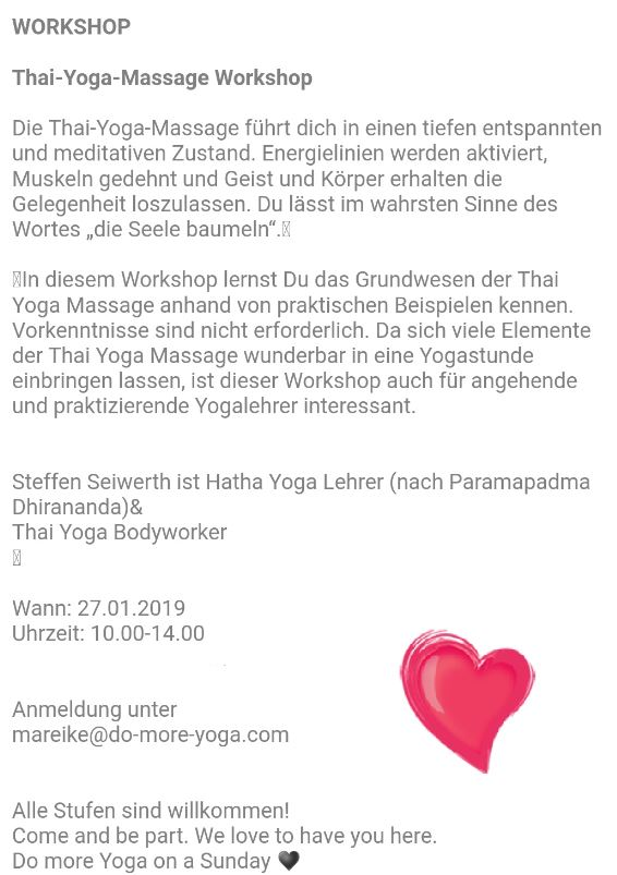 Thai Yoga Workshop in Worms