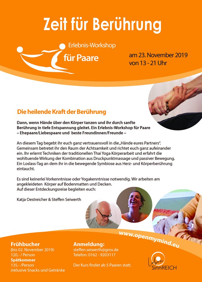 """Neuer Workshop """"Zeit für Berührung"""""""